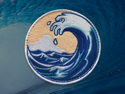 Tsunami apparel vector san francisco product patch illustration embroidery surf tsunami tidal wave wave