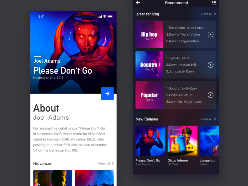 Music APP application type user station exercise cool app ui design application music