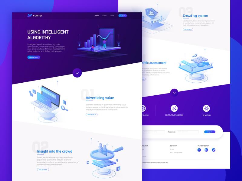 Web  design data ux ui wesite page landing home illustration design clean tone blue