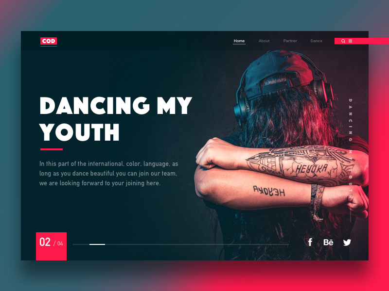 Spare-time webpage exercises society exercise typesetting red design ue ui web passion dance music