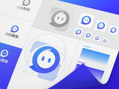 Logo design adaptation customer service gradient logo mac dialogue pixels design blue