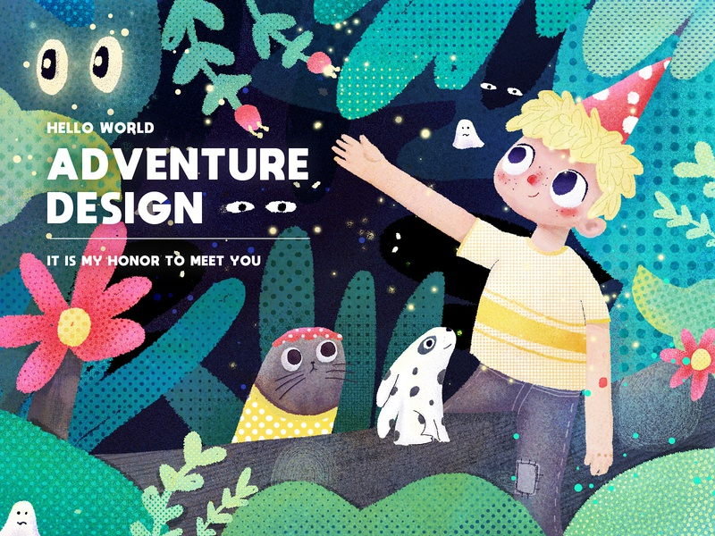 Forest Adventure02 boy design people yellow hand-painted color