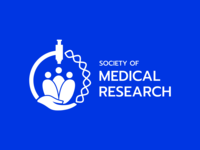Society of Medical Research medtech technology blue microscope people society research logo design medical brand