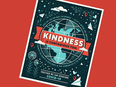 kindness is contagious too pandemic inspirational globe kindness coronavirus covid-19