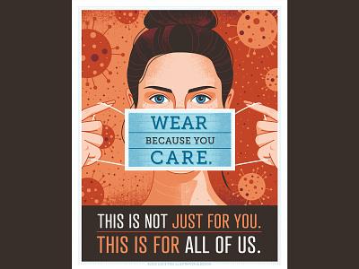 wear because you care illustration courtesy healthcare public safety coronavirus covid-19 mask