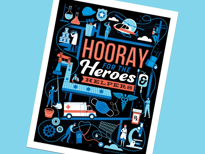 hooray for the heroes and helpers gratitude people illustration bravery coronavirus front lines essential workers thankyou covid-19