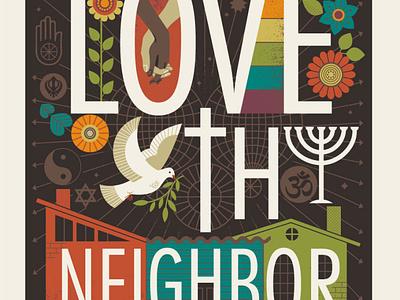 Love Thy Neighbor faith inclusion diversity compassion illustration kindness