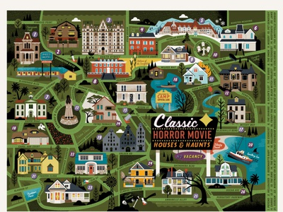 Classic Horror Movie Map illustration horror movies settings film haunted halloween horror puzzle design