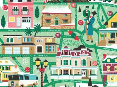 Classic Christmas Movie Map holiday christmas locations illustration puzzle map