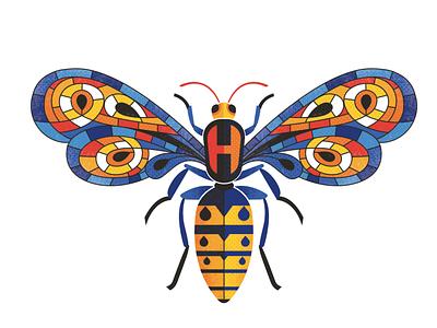 Hackley School Hornet stained glass hornet bee branding illustration