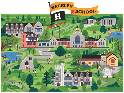 "Hackley School ""map"" whimsical illustration map buildings campus"