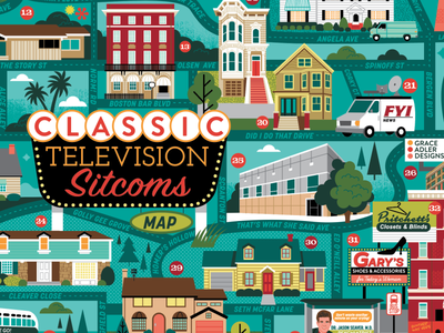 Classic TV map puzzle design sitcom television illustrated map illustration map