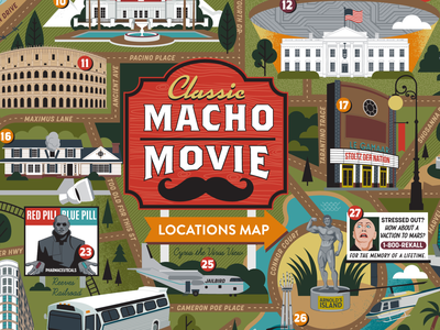 Macho Movie Map puzzle design film movies macho illustrated map map map illustration