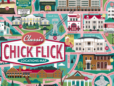 Chick Flick Map scenes illustration map illustrated map films movies