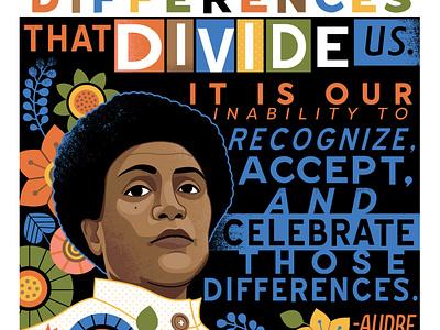 Audre Lorde portrait equality illustration poster design civil rights lgbtq portrait activist feminist