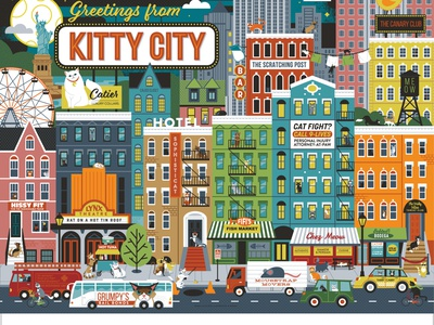Greetings from Kitty City city whimsical illustration animal cats