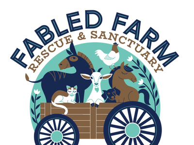 Fabled Farm Logo non-profit rescue farm animals illustration logo