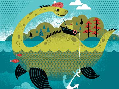 Nessie adventure licensing kids texture monster legend scotland loch ness toy childrens pattern illustration