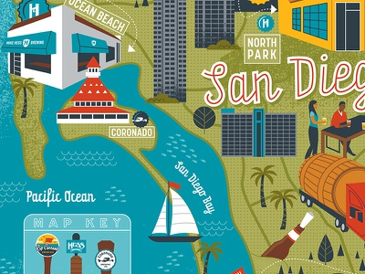 San Diego brewery map illustration map