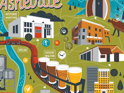 Beer Advocate Asheville asheville illustration map beer