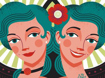 Let Your Freak Flag Fly twins poster portrait illustration