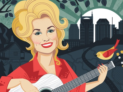 The Queen of Country nashville illustration portrait dolly parton