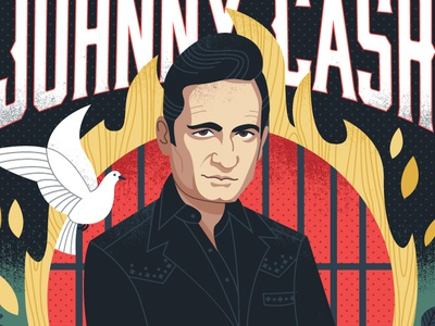 The Man in Black music nashville poster illustration portrait johnny cash