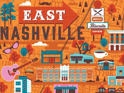 East Nashville Map nashville illustrated map