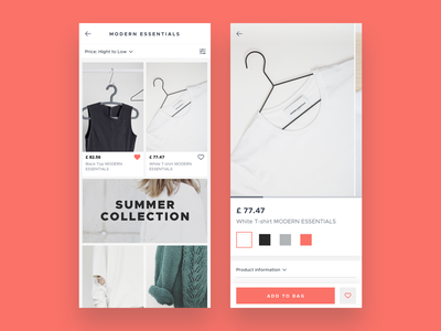 eCommerce app app ux ui design catalogue product card living coral sketch android ios shop ecommerce live typing ux ui design