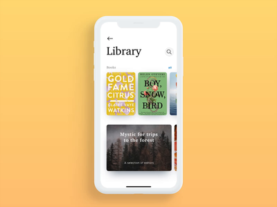 Reading App – Book search Interaction principle animation mobile app book app search ios ux ui sketch live typing ecommerce design