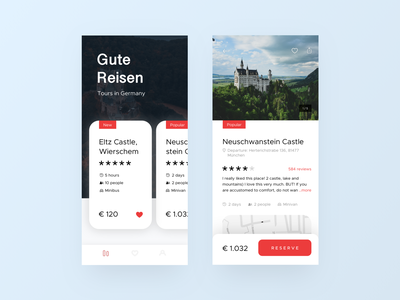 Trips in Germany like rating travel trips typografy ecommerce live typing sketch ios ux ui booking flat e-commerce design branding app
