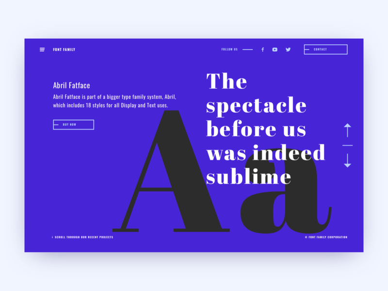 Font Family site — Main page typography branding ecommerce sketch website web flat font logo ux ui live typing design