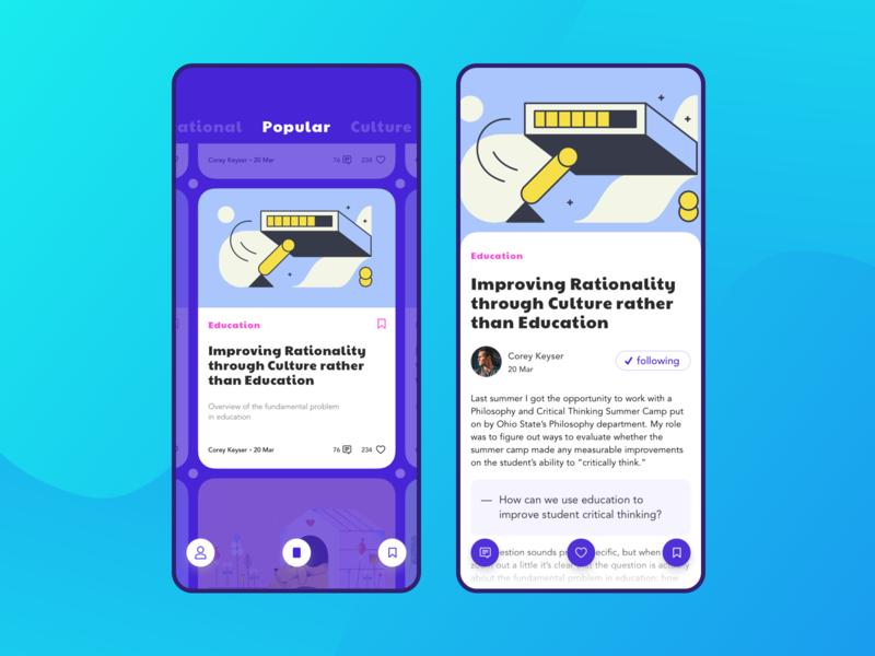Reading Articles App vector reading app article app design typography android flat branding app ios ux ui sketch live typing ecommerce design design app