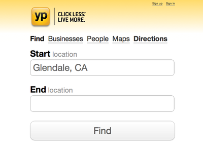 Yp Lite - Directions white yellow search yellow pages yp lite yp