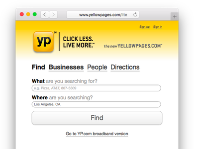 Yp Lite - Business Search white yellow search yellow pages yp lite yp