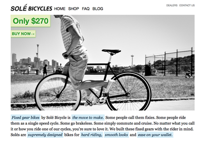 2010 Solé Bicycles homepage design design homepage bicycles sole client