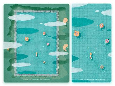 Summer natural swimming summer illustration