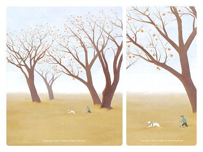 autumn skateboard autumn dog natural illustration