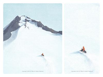 winter mountaineering snow mountain winter natural illustration