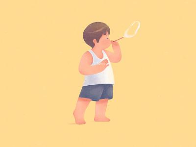 blow bubbles boy childhood blow bubbles child illustration