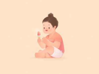 Eat popsicles cute childhood popsicles girl child illustration