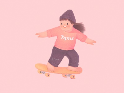 Skate free cute girl illustration