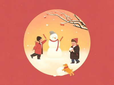 Spring Festival new year snowman snow cute dog girl child illustration
