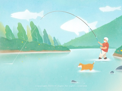 fishing season stream mountain natural fishing dog illustration