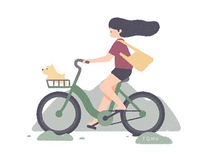 Travel natural travel dog girl child illustration
