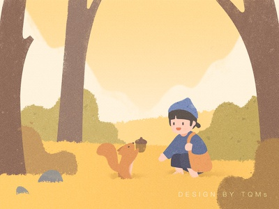Autumn animal squirrel forest autumn child girl illustration