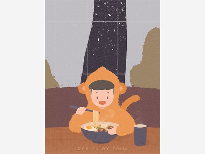 Winter winter noodle child illustration