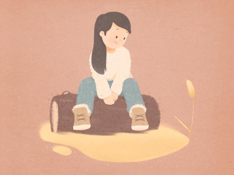 Fall fall quiet child illustration girl