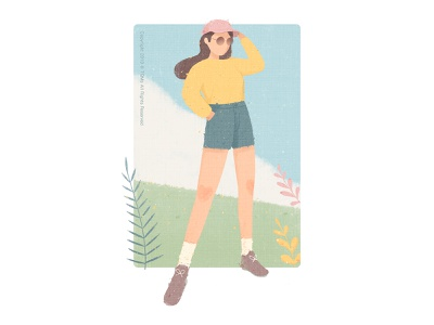 Girl mountaineering natural girl illustration