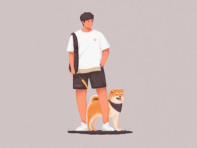 Waiting for you hello cool animal wait man dog illustration